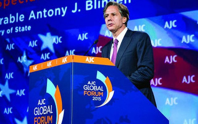 Deputy Secretary of State Antony J. Blinken delivers remarks to the American Jewish Committee Global Forum. (Photo by Ron Sachs)