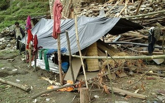 The April earthquake in Nepal has forced families into tent living. (Photo provided by Zur Goldblum)