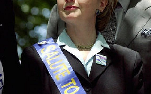 Then-Senate candidate and first lady Hillary Clinton takes part in the Israel Day Parade in New York in June 2000. (Photo by Chris Hondros/Newmakers/Getty Images)