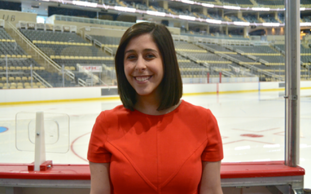 "As new media coordinator, Andi Perelman faces many challenges but says, ""just being able to watch hockey and be a part of this team is really exciting for someone that grew up in Pittsburgh as a hockey fan."" (Photo by Jonathan Kabana)"