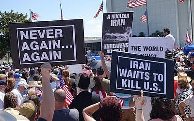 Hundreds of people protesting against the Iran nuclear deal on July 26, in Los Angeles. (Photo by Peter Duke)