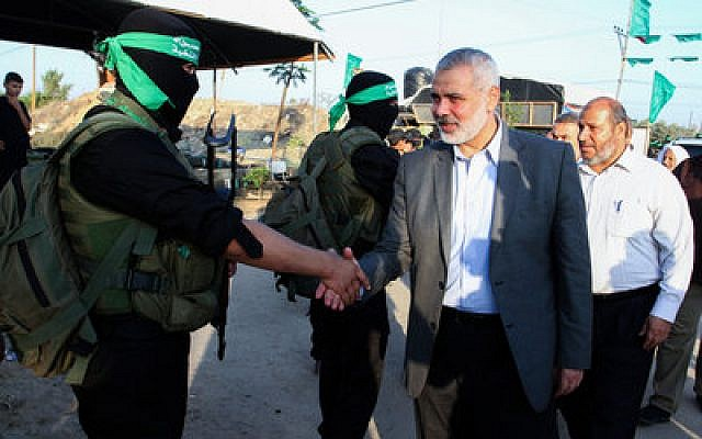 Senior Hamas leader Ismail Haniyeh arrives at a Liberation Youths summer camp organized by the Hamas movement in the Gaza Strip. (Abed Rahim Khatib/Flash90)