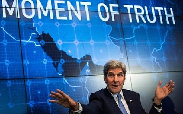 Secretary of State John Kerry speaks about the Iran Deal last week in New York. (Andrew Burton/Getty Images)