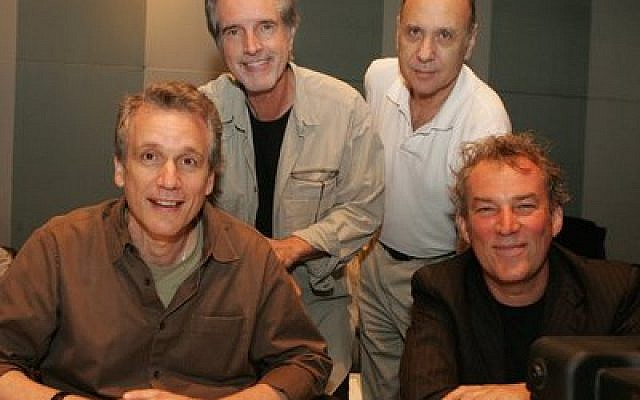 "From left: Rick Elice, ""Jersey Boys"" co-writer; Bob Gaudio, songwriter for the Four Seasons; Marshall Brickman, ""Jersey Boys"" co-writer;  and Broadway director Des McAnuff. (Photo by Joan Marcus)"