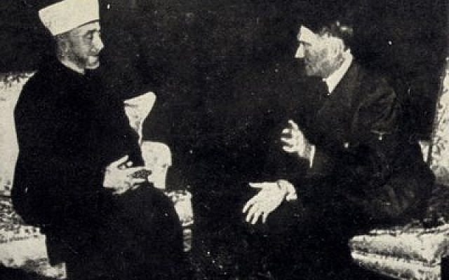 Jerusalem Grand Mufti Haj Amin el-Husseini meets with Adolf Hitler in Berlin in 1941. (Photo provided by The Wyman Institute)