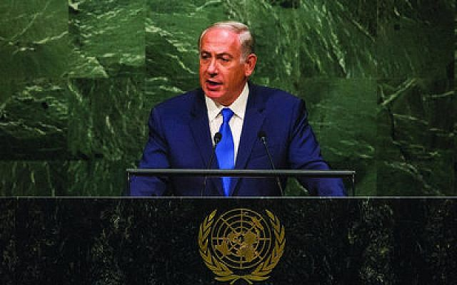 Israeli Prime Minister Benjamin Netanyahu calls out members of the U.N. General Assembly for their inaction on Iran. (Photo by Andrew Burton/Getty Images)