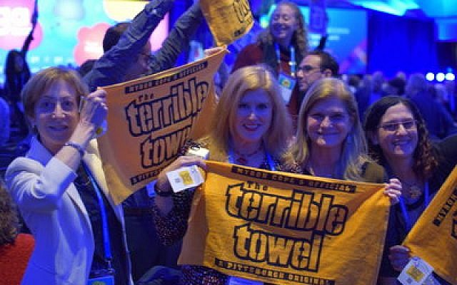 Pittsburgh's delegation at the G.A. celebrates with hometown pride. (Photo by Geoffrey W. Melada)