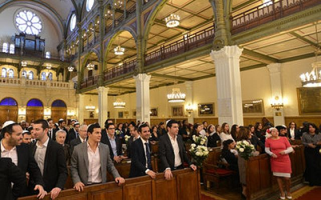 A wedding takes place at the Synagogue des Tournelles in Paris on Nov. 15 two days after a wave of terror gripped the city.  (Photo by Alain Azria)