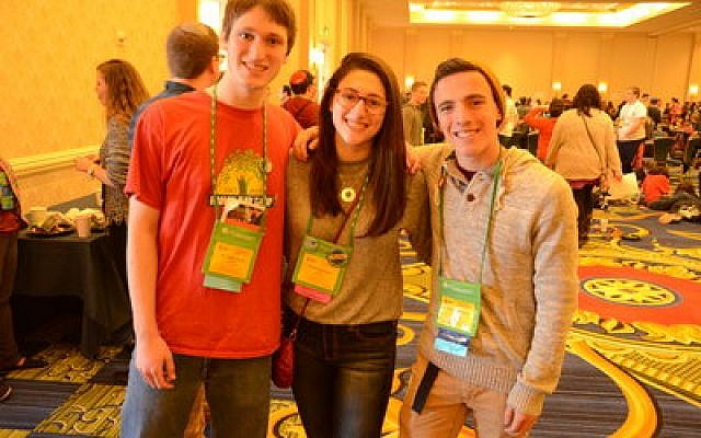 RJ Tabachnick, left, son of Chronicle writer Toby Tabachnick, said the conference was important for strengthening advocacy skills and peer relationships. RJ is with Pittsburghers Tova and Joseph Finkelstein. (Photo by Daniel Schere)