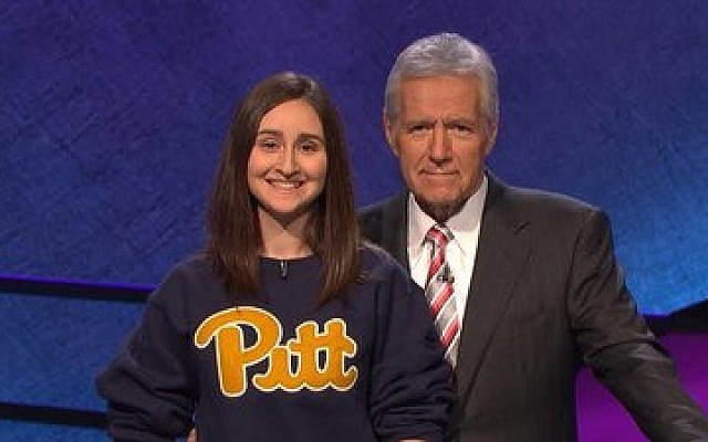 "Sarah Dubnik poses with ""Jeopardy!"" host Alex Trebek.	 Photo provided by Jeopardy Productions, Inc."