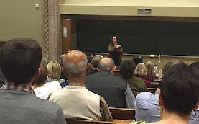 Marcy Brink-Danan addresses an audience of students, faculty and community members at the University of Pittsburgh.  Photo courtesy of Pitt Jewish Studies Program
