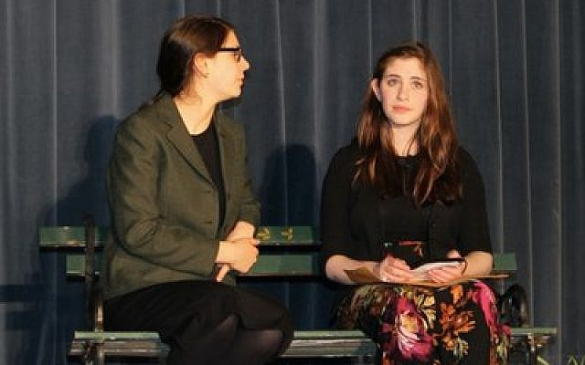 "Leah Fishman (left) and Tamar Guterson showcase their acting talents in Yeshiva's ""Can You Imagine?"" Photo by Chani Grossbaum"