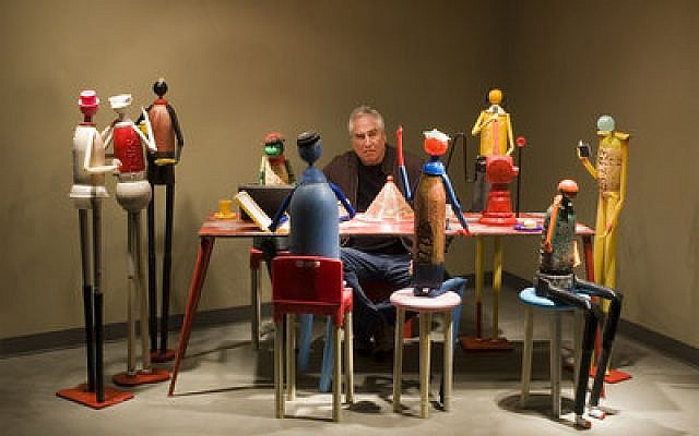 "Jerry Barrish sits with his sculptures from ""Plastic Man: The Artful Life of Jerry Ross Barrish."" Photo courtesy of JFilm"