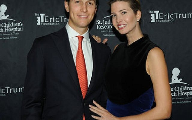 Jared Kushner and wife Ivanka Trump pose for a photo at the Trump National Golf Club in Bedminster, N.Y.  Phtoto by Bobby Bank/WireImage/Getty Images