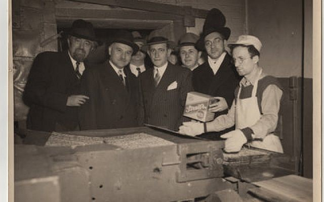 Irving Streit (center) son of Streit's Matzo founder Aron Streit, in an undated photo at the Lower East Side factory. Photo courtesy of Menemsha Films