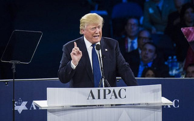 Republican presidential candidate Donald Trump makes a point at the AIPAC Policy Conference in Washington in March.  Photo by Jabin Botsford/The Washington Post via Getty Images