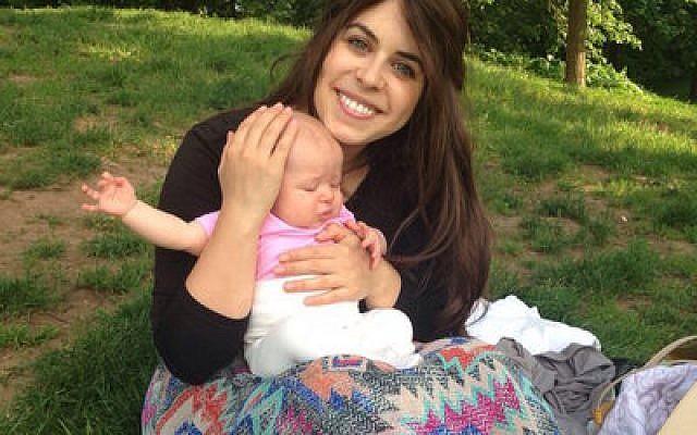 Myriam Schottenstein, founder of the sheitel review website ShayTell, and her baby   Photo courtesy of Schottenstein