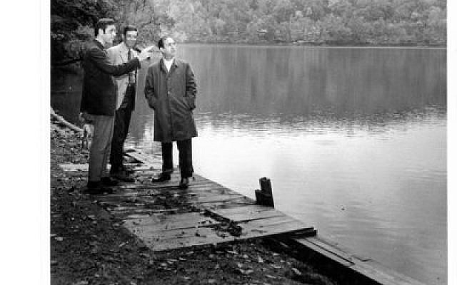 Looking at the site of the futre Emma Kaufmann Camp. From left: Irv Bennet, Jerry Ostrow and Arthur Rotman  Photo provided by the Jewish Community Center of Greater Pittsburgh