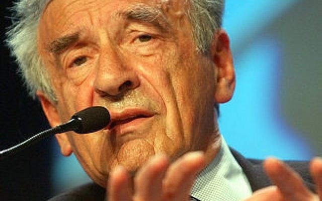 Elie Wiesel makes a point at the World Economic Forum in Davos, Switzerland, in 2003. Photo by Sebastian Derungs