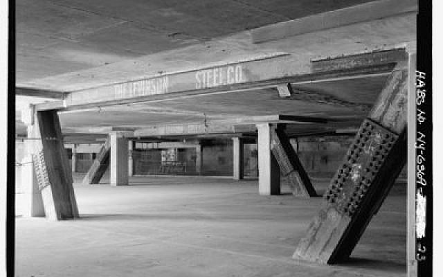 "Exposed beams and diagonal steel supports provided to the World Trade Center by Levinson Steel in the 1960s.""We supplied a lot of the steel that helped build this country,"" said Jeannie Miller, Jim Levinson's great-granddaughter.   Photo courtesy of The Library of Congress"