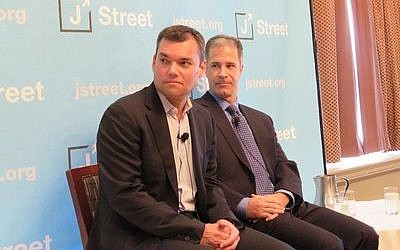 Journalist Peter Beinart, left, speaks alongside pollster Jim Gerstein at a J Street session in Philadelphia during the Democratic National Convention.  Photo by Ron Kampeas