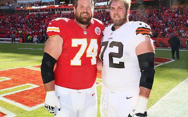 Geoff (left) and Mitch Schwartz are the first Jewish brothers to play in the NFL since 1923.  Photo by Olivia Goodkin and Lee Schwartz