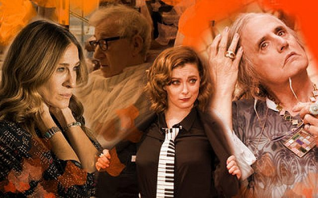 From left: Sarah Jessica Parker, Woody Allen, Rachel Bloom and Jeffrey Tambor all star in fall premieres that Jewish viewers should watch. Photo montage by Lior Zaltzman