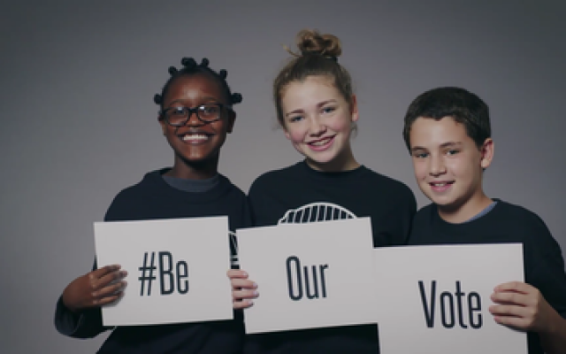 Pittsburgh students like these are part of a campaign supported in part by the Jewish Federation of Greater Pittsburgh to get adults to the polls.   Photo courtesy of Community Relations Council, Jewish Federation of Greater Pittsburgh