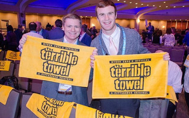 Hillel Jewish University Center students show off their pride at the G.A.	 Photo by Geoffrey Melada