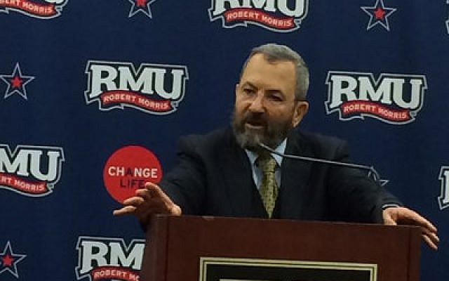 Ehud Barak spoke at Robert Morris University prior to his appearance at Heinz Hall.  Photo by Toby Tabachnick