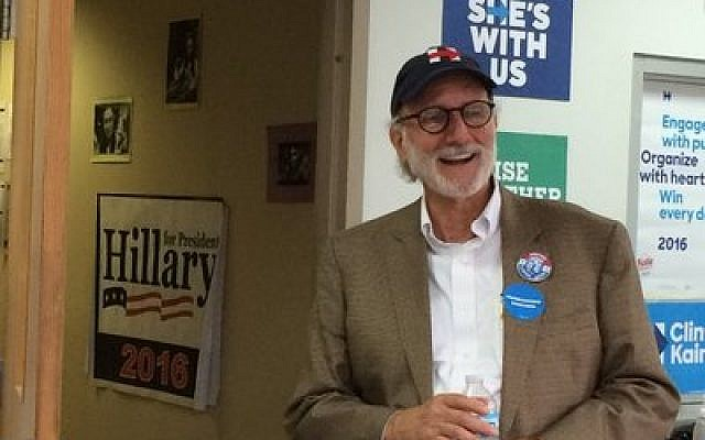 Alan Gross delivers a motivational talk to Clinton campaign volunteers in Brookline.  Photo By Toby Tabachnick