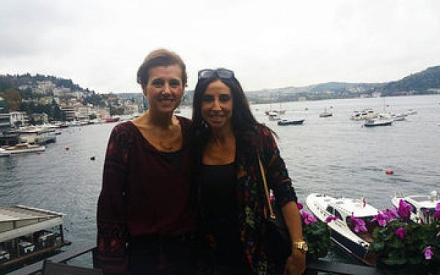 Turkish Jewish businesswoman Betty (left) and her friend Suzette pose for a photo in Istanbul last week. They asked that their last names not be used for security reasons.   Photo by Cnaan Liphshiz