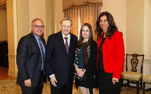 Jeffrey Finkelstein, president and CEO of the Jewish Federation of Greater Pittsburgh, poses with, from left, luncheon sponsors Marvin and Amy Kamin, and speaker Dr. Sima Goel.						             Photo by David Bachman
