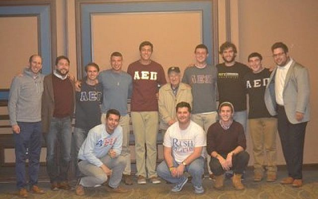 AEPi Pitt welcomed Holocaust survivor Sam Gottesman at an event attended by nearly 100 members of the University of Pittsburgh campus.  Photo courtesy of Andrew Silberfeld