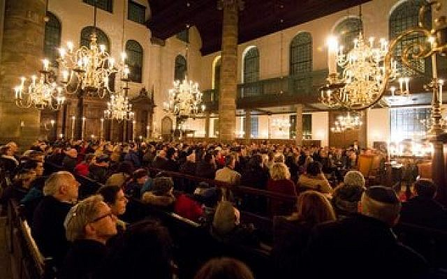 Kristallnacht is commemorated at the Portuguese Synagogue in Amsterdam last week.  Photo courtesy of Jonet.nl