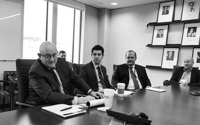 State Department official Ira Forman (left) makes a presentation to Jewish journalists.  Photo by Toby Tabachnick