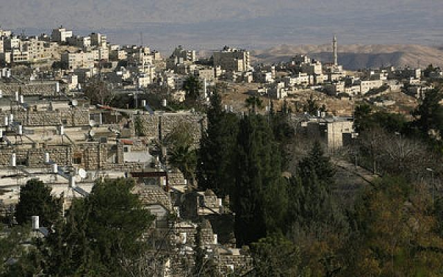 """A view of the Jerusalem Jewish neighborhood of French Hill and the Arab neighborhood of Al-Zaim. The United Nations describes French Hill as being situated in the """"occupied Palestinian territory"""" of """"East Jerusalem."""" Photo by Nati Shohat/Flash90"""