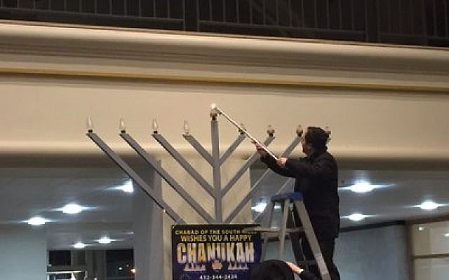 The Galleria menorah lighting takes center stage.  Photo by Rob Goodman