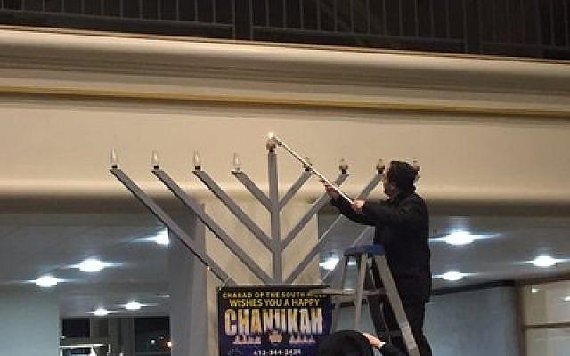 The Galleria menorah lighting takes center stage.  Photo by Rob Goodman