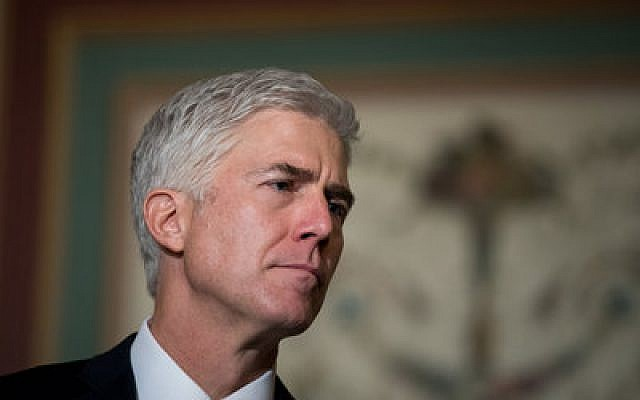 Supreme Court nominee Neil Gorsuch at a news conference on Capitol Hill  Photo by Drew Angerer/Getty Images