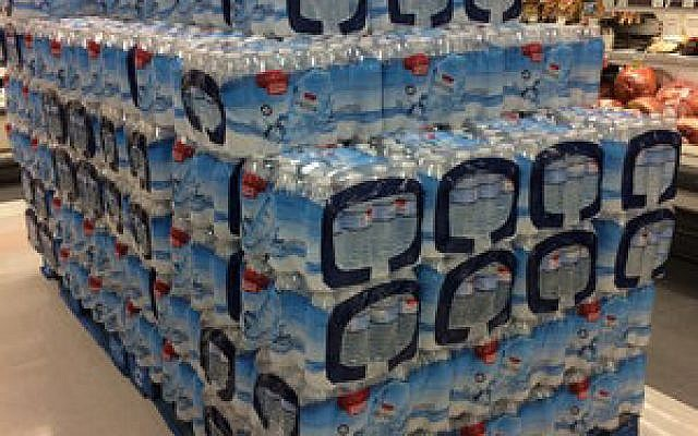 A pallet of bottled water at the Squirrel Hill Giant Eagle on Murray Avenue.  Photo by Toby Tabachnick