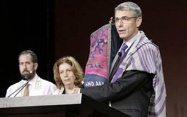 Rabbi Rick Jacobs, the Union for Reform Judaism president, speaks at the movement's biennial conference in Orlando, Fla., in 2015. 	Photo courtesy of URJ