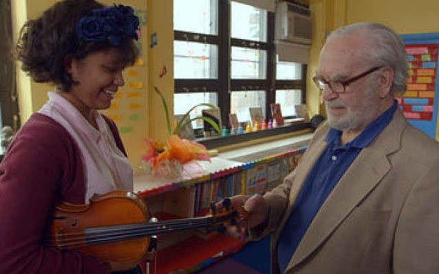 "Joe Feingold and Brianna Perez in the Oscar-nominated short documentary ""Joe's Violin""   Photo courtesy of ""Joe's Violin"""