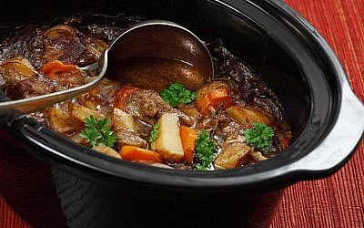 Photo of Irish Stew or Guinness Stew made in a crockpot or slow cooker..