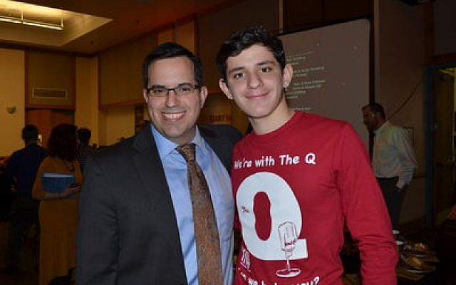 """Rabbi Ari Goldberg, left, at """"The Q,"""" an annual fundraiser for NCSY.Photo by Polina Neft"""