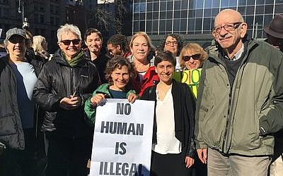 Congregants of B'nai Jeshurun in New York City rally on behalf of immigrants last week. B'nai Jeshurun is one of several synagogues more assertively embracing activism since Donald Trump's election. Photo courtesy of B'nai Jeshurun