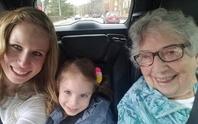 Chantze Butler, with her great-niece Mollie Butler and great-great-niece Lily Karoll, is all smiles as she gets a ride in a self-driving car. 	Photo by Mollie Butler