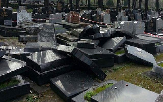 The aftermath of an incident in March, involving a municipal truck at the Jewish section of the Pantin cemetery near Paris. Photo courtesy of JSSNews