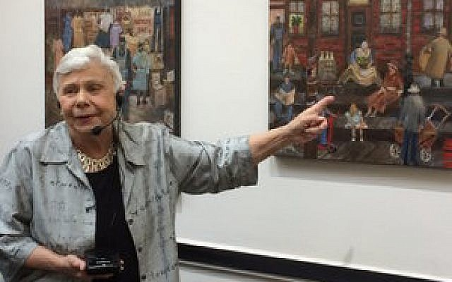 Artist Rochelle Blumenthal talks about her Hill District paintings. Photo by Toby Tabachnick