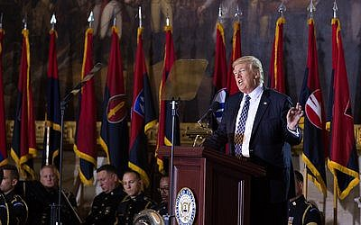 President Donald Trump vowed to confront anti-Semitism and terrorism against Israel at the annual Days of Remembrance ceremony last week inside the Capitol Rotunda.   Photo courtesy of U.S. Holocaust Memorial Museum